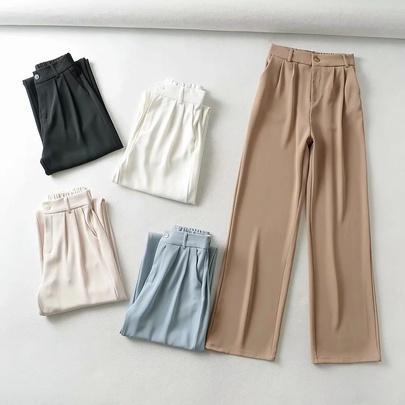 High Waist Drape Elastic Waist Loose Casual Suit Wide-leg Pants  NSAC52924