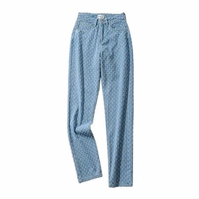 Fashion Loose Bee Hole Straight Wide Leg Denim Pants NSAC52928
