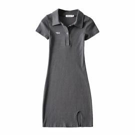 Solid Color Polo Collar Short Slim Split Bag Hip Dress NSAC52929