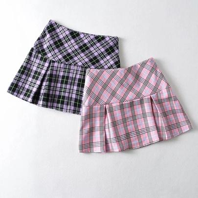 High Waist Stitching Thin Pressure Pleated Plaid Skirt  NSAC52931