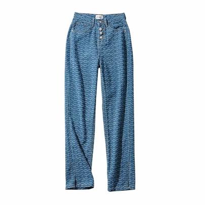 High Waist Loose Wavy Pattern Leg Split Straight Leg Denim Pants  NSAC52933