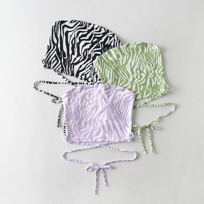 Slim-fit Zebra Print Cross Lace-up Tube Top Vest NSAC52935