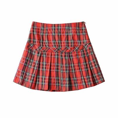 High Waist Stitching Plaid Pleated Short Skirt NSAC52939