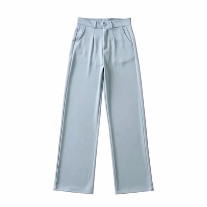 Thin Drape Loose High-waist Straight-leg Casual Suit Trousers  NSAC52942