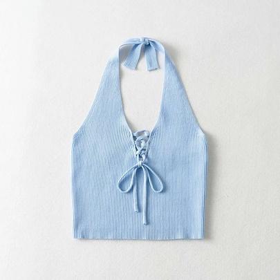Chest Strap Halterneck Backless Knit Camisole NSAC52944