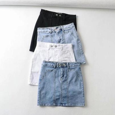 High-waist Two Button Big Pocket  A-line Denim Skirt  NSAC52948