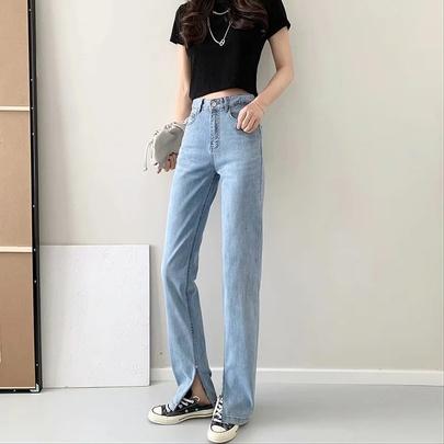Hem Split High Waist Straight Jeans NSAC52950