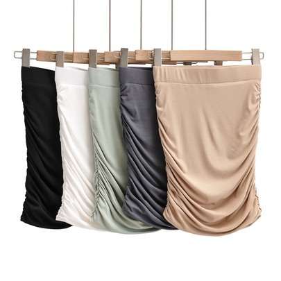 Solid Color Thin Double-layer Pleated Elastic Hip-lifting Skirt NSAC52952