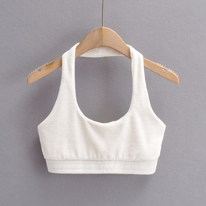 Solid Color Hanging Neck U-neck Slim Short Vest  NSAC52954