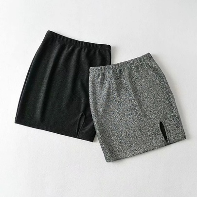 Side Split Sexy Bright Silk Elastic Waist Short Skirt NSHS52962