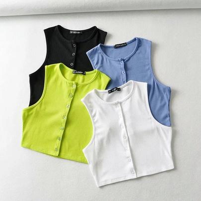 Fashion Solid Color Round Neck Single-breasted Short Vest NSHS52969