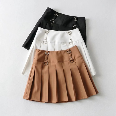 Solid Color Buckle Decor Pressure Pleated Short Skirt  NSHS52970