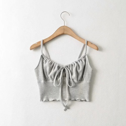 Sexy Tie-up Rope Solid Color Sling Short Vest  NSHS52971
