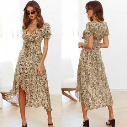 Sexy Deep-V Knotted Lotus Leaf Sleeve Dovetail Big Swing Dress NSYD52984