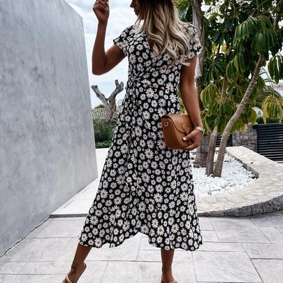 V-neck Lace-up Printed Short-sleeve Dress NSYD52985