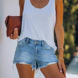 Fashion Hole Tassel Pockets Denim Shorts NSYD52986