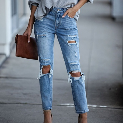 Ripped Pockets Fashion Straight Denim Pants  NSYD52988