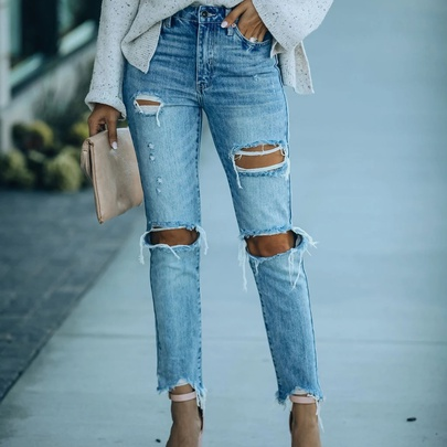 Contrast Stitching Holes Straight Jeans NSYD52989