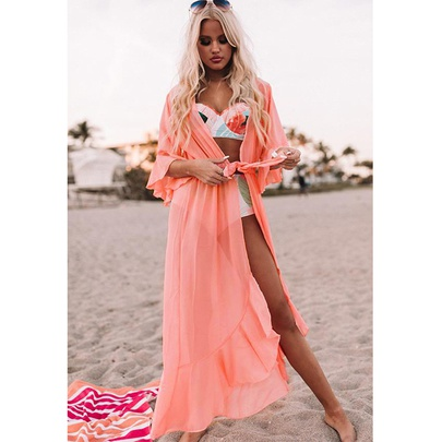 Fashion Thin Solid Color Waist Belted Beach Long Cardigan  NSYD52990