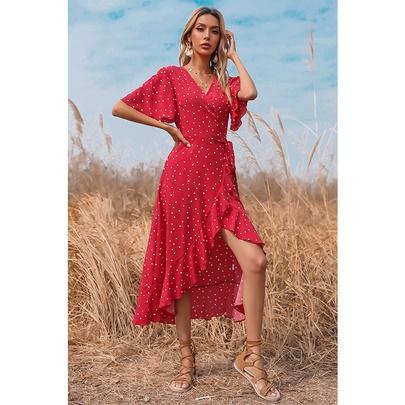 V-neck Polka-dot Lace-up Ruffle Long Dress NSSA53021