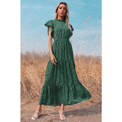 Fashion Loose Print Short-sleeved Long Dress  NSSA53022