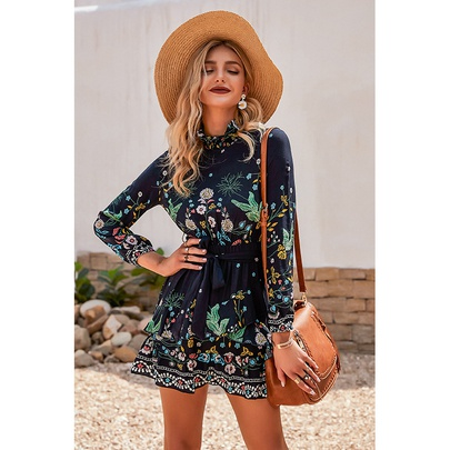 Fashion Long Sleeve Printed Lace-up Casual Dress NSSA53023