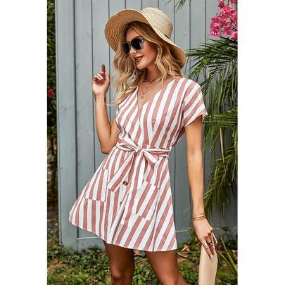 Fashion Short-sleeved Bow Tie-up V-neck Striped Dress NSSA53024