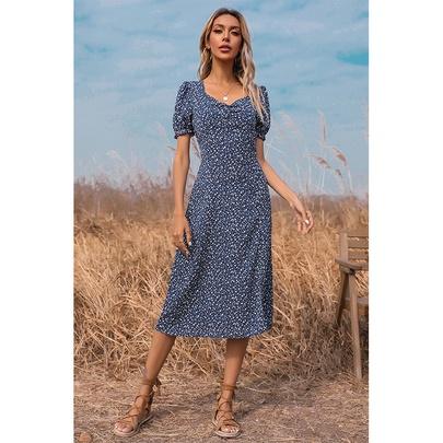 Fashion V-neck Split Short-sleeved Long Floral Dress NSSA53025
