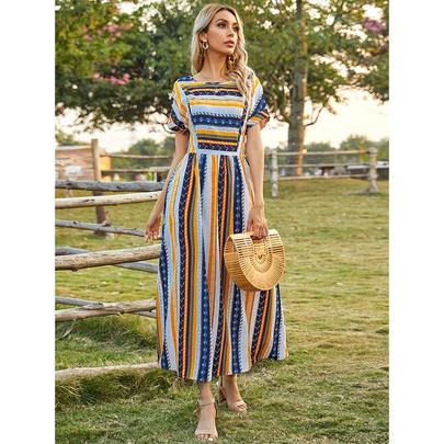 Striped Round Neck Short-sleeved Long Dress NSSA53026
