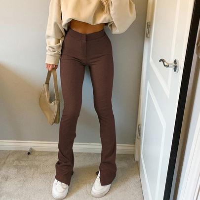 Fashion Pure Color Tight-fitting High-waist Leisure Micro-la Pants NSRUI53071