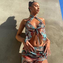 Halter Neck Tie Vest Water Ripple Printing Beach Split Half Skirt Set NSRUI53087