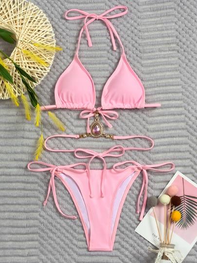Solid Color Triangle Crystal Diamond Straps Bikini NSLUT53570