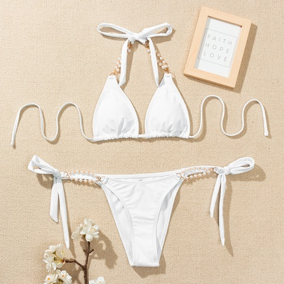Pure Color Pearl Sling Split Bikini  NSLUT53770