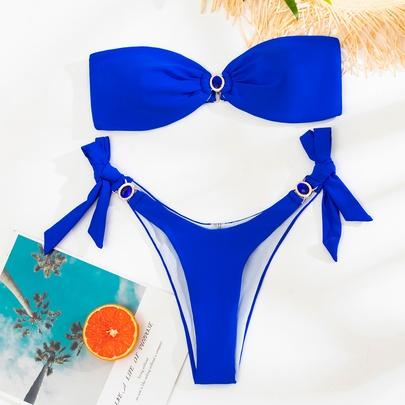 Blue Ring Tube Thong Bikini Swimsuit Set NSLUT53762