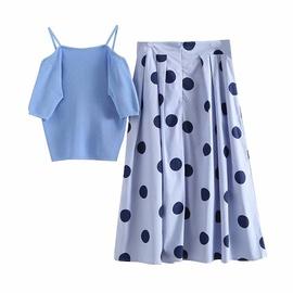 Summer Newhigh Waist Big Polka Dot Casual Skirt & Vest Set NSAM53177