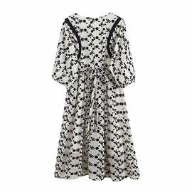 Retro Round Neck Back Zipper Flocking Flowers Lantern Sleeve Dress  NSAM53184
