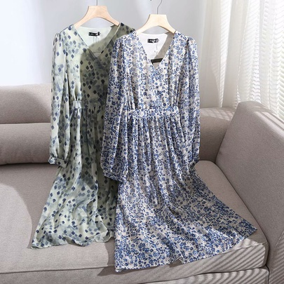 V-neck Lantern Long Sleeves High Waist Floral Long Dress NSAM53191