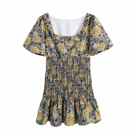 Short-sleeved Sqare Neck High Waist Slim Printed Short Dress NSAM53201
