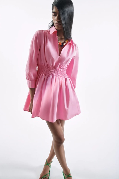 Solid Color V-neck Long-sleeved Poplin Elastic Waist Shirt Dress  NSAM53203