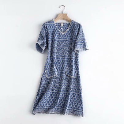 V-neck Pearl Decoration Hollow Embroidery Short-sleeved Dress NSAM53205