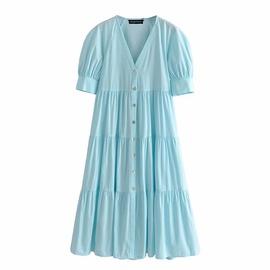 V-neck Short-sleeved Single Breasted Layered Stitching Poplin Dress NSAM53207