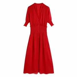 Solid Color Small Collar Elastic Waist Thin Single Breasted Dress  NSAM53210