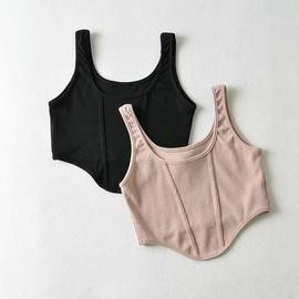 Summer Round Neck Solid Color Sexy Short Slim Vest NSHS53213