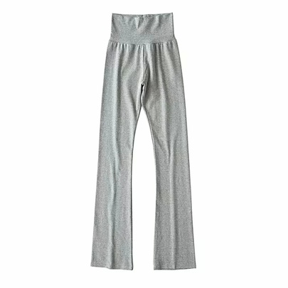 High Waist Splicing Cotton Stretch Sports Casual Flared Pants  NSAC53225
