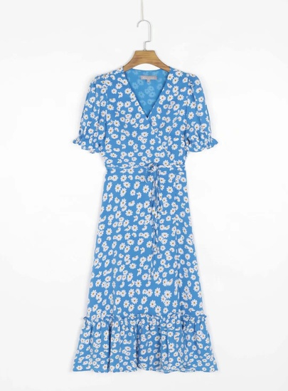 Retro Daisy Print V-neck Short-sleeved High Waist Dress NSAC53228