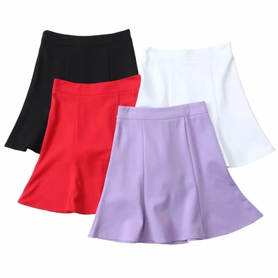 Retro High Waist Ruffled Splicing Pure Color Short Skirt  NSAC53229