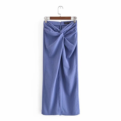 Retro Back Zipper Knotted Knitted High Waist Long Skirt  NSAC53234
