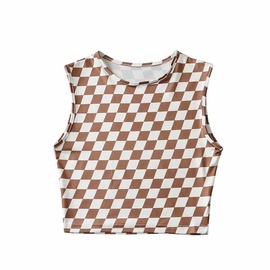Summer Hot Style Small Diamond Lattice Short Slim Sleeveless Top NSAC53235