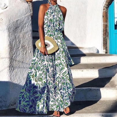 Fashion Floral Halter Off-shoulder Hanging Neck Bohemian Long Dress  NSYF53241