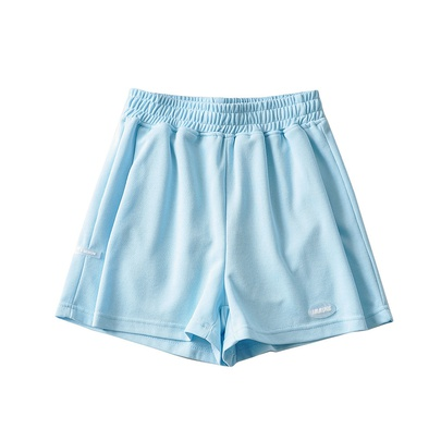 Elastic Waist Loose Solid Color Wide-leg A-line Shorts  NSHS53250